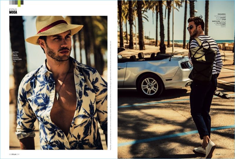 Left to Right: Embodying the spirit of a stylish vacation, Jábel Balbuena dons a Nautica palm tree print shirt with a Caruso hat and Thomas Sabo necklace. Departing, Jábel sports a Dsquared2 stripe sweater with Lacoste pants, and Etnia Barcelona sunglasses. He also wears a Calvin Klein backpack and Clarks shoes.