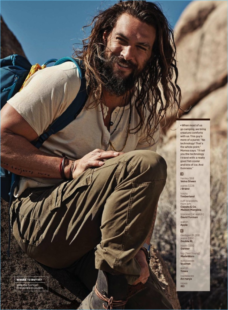All smiles, Jason Momoa rocks a Velva Sheen henley with J Brand pants, and Timberland boots.