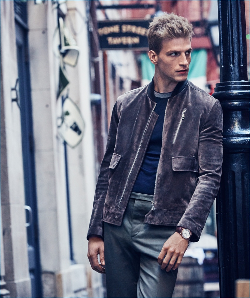 Dean Isidro photographs Jesse Shannon in a Brioni suede jacket with a Giorgio Armani t-shirt, Valentino pants, and a Brequet watch.