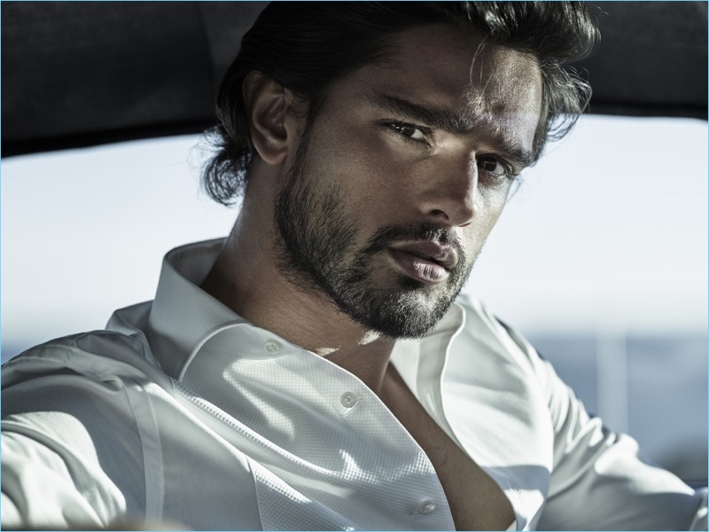 Model Marlon Teixeira stars in the Jimmy Choo Man Ice fragrance campaign.