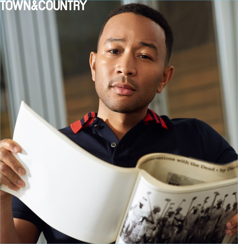 Singer John Legend wears a Gucci polo for the pages of Town & Country.