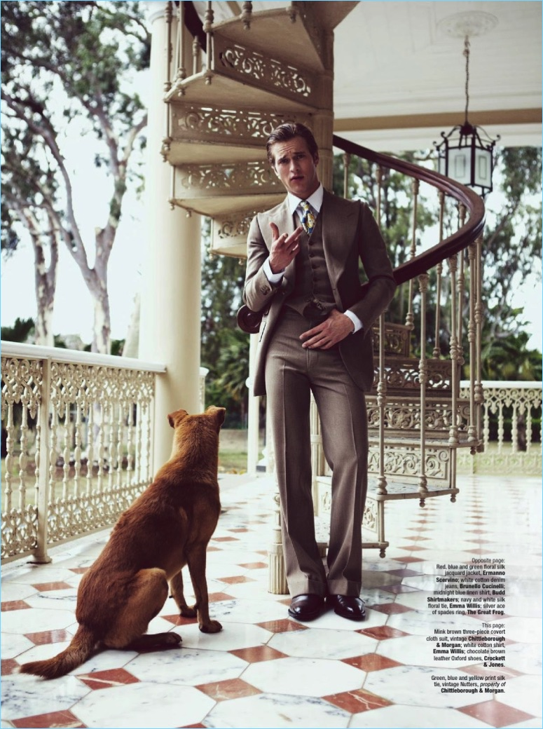 A suave image, Jules Raynal wears a three-piece Chittleborough & Morgan suit with an Emma Willis shirt and Crockett & Jones shoes.