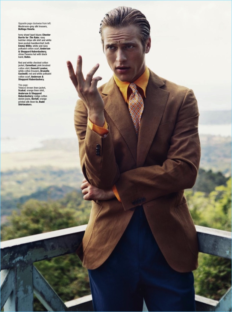 Starring in an editorial for The Rake, Jules Raynal dons a Scabal jacket with an Anderson & Sheppard Haberdashery shirt, Berluti jeans, and a Budd Shirtmakers tie.