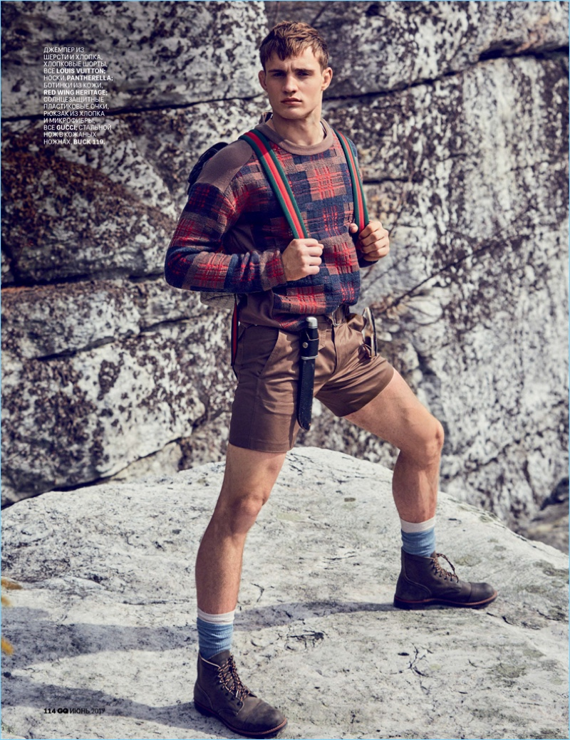 Julian Schneyder stars in a rock climbing-inspired fashion editorial for GQ Russia.
