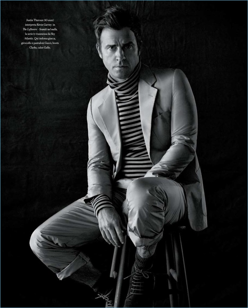 Sitting for a portrait, Justin Theroux wears a a chic look by Gucci with Clarks shoes.