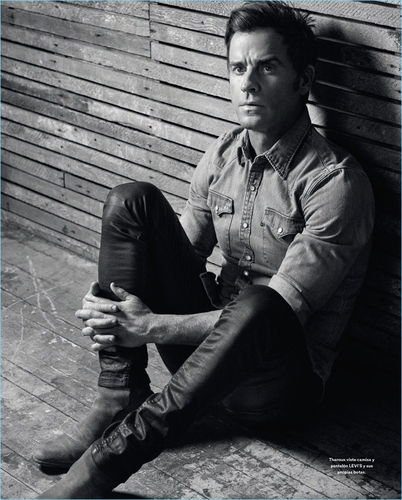Michael Schwartz photographs Justin Theroux in a denim shirt and jeans by Levi's with his own boots.