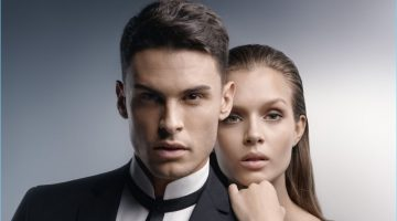 Baptiste Giabiconi joins Josephine Skriver for Karl Lagerfeld's spring-summer 2017 timepiece campaign.