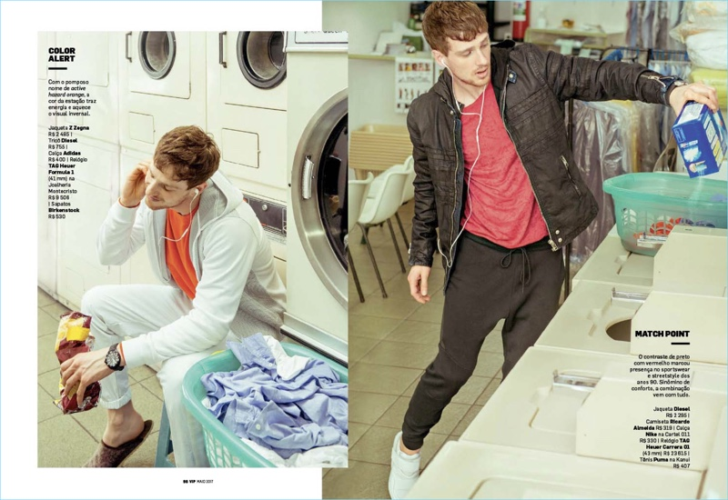 Left to Right: Lucas Mascarini wears a Z Zegna jacket with Adidas pants, a Diesel tee, and Birkenstock shoes. Doing laundry Lucas wears a Diesel jacket with a Ricardo Almeida tee and Nike pants. He also sports Puma sneakers.