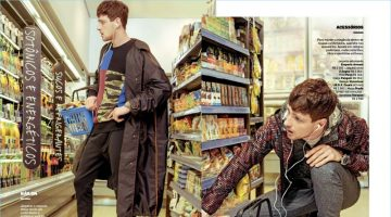 Left to Right: Grocery shopping, Lucas Mascarini wears a sporty look by Prada with a Diesel sweatshirt. Filling his basket, Lucas rocks an Emporio Armani jacket layered over one by Z Zegna. He also wears a Paco tee and Pengin pants with Versace sandals.