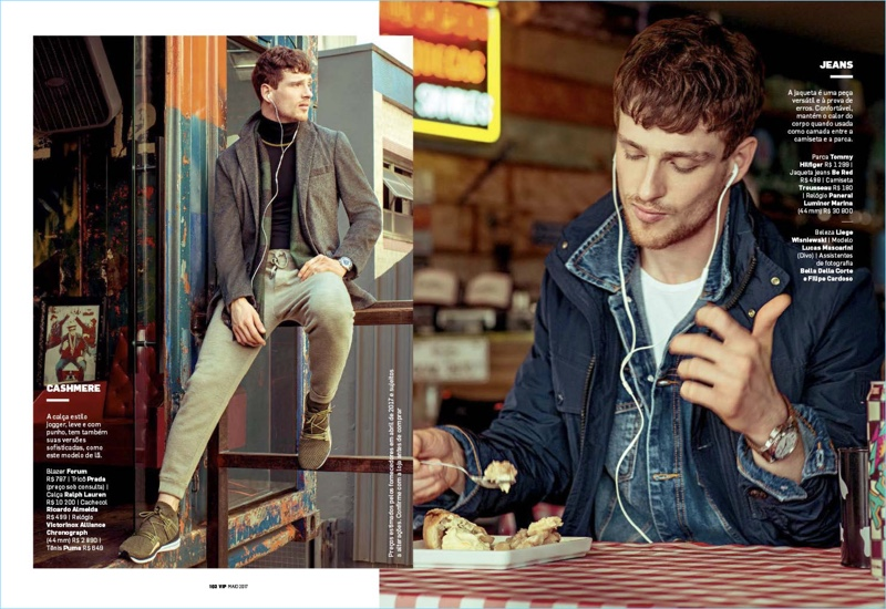 Left to Right: Taking a break outside, Lucas Mascarini wears a Forum blazer with a Prada sweater and Ralph Lauren pants. Lucas also sports a Ricardo Almelda scarf and Puma sneakers. Grabbing a bite to eat, Lucas rocks a Tommy Hilfiger jacket with a Be Red denim jacket.