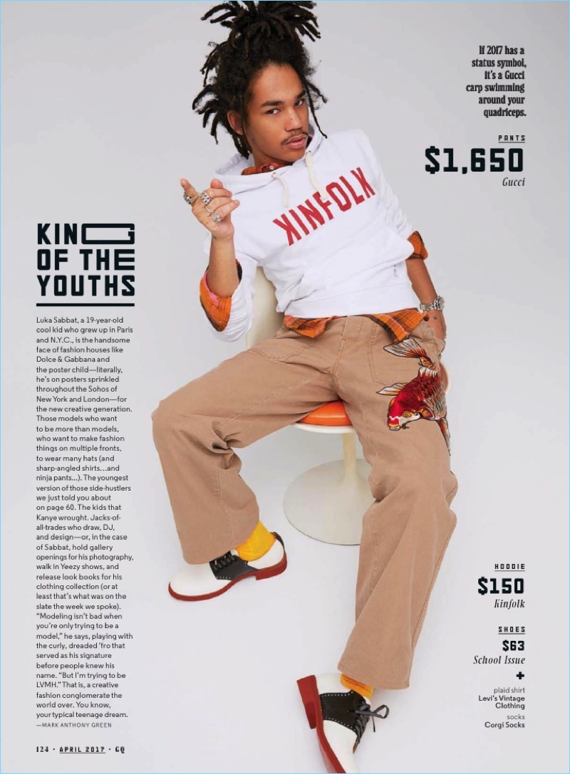Kai Z Feng photographs Luka Sabbat in a Kinfolk hoodie with Gucci pants, a Levi's Vintage Clothing plaid shirt, Corgi socks, and School Issue shoes.