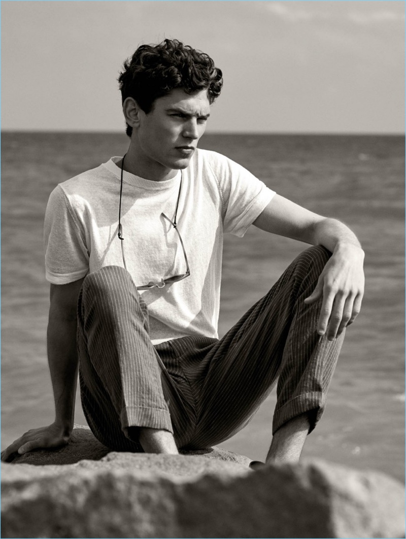 French model Arthur Gosse embraces chic summer style with Mango Man.