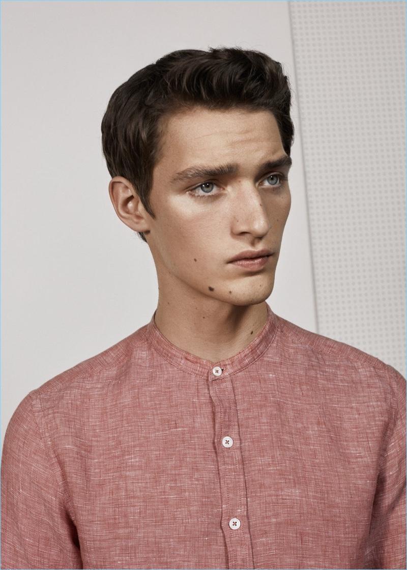 Mango Man Mao Collar Linen Shirt