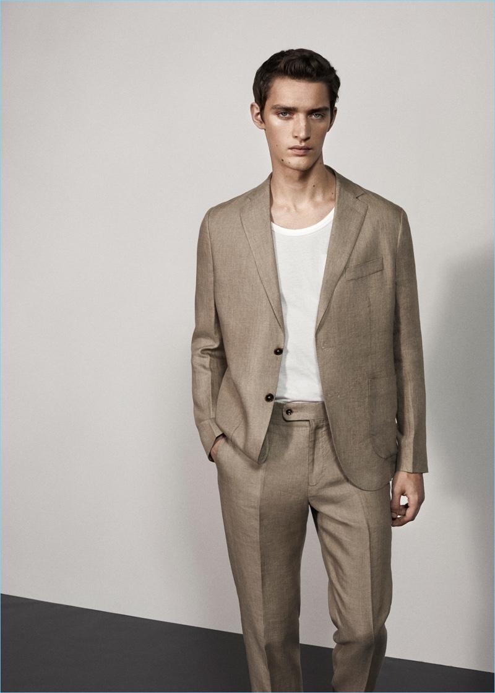 Mango Man Slim Fit Linen Suit