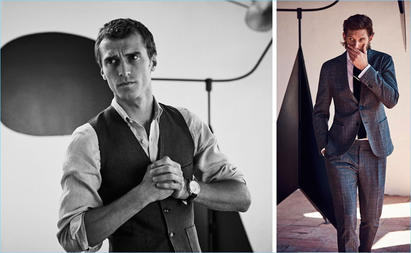 Left: Clément Chabernaud dons a waistcoat and smart shirt from Massimo Dutti. Right: RJ Rogenski sports a check suit from the Spanish brand.