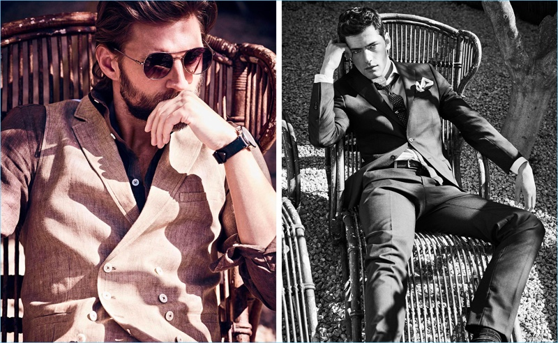 Left: RJ Rogenski lounges in a smart waistcoat with a linen shirt. Right: Sean O'Pry dons Massimo Dutti suiting.
