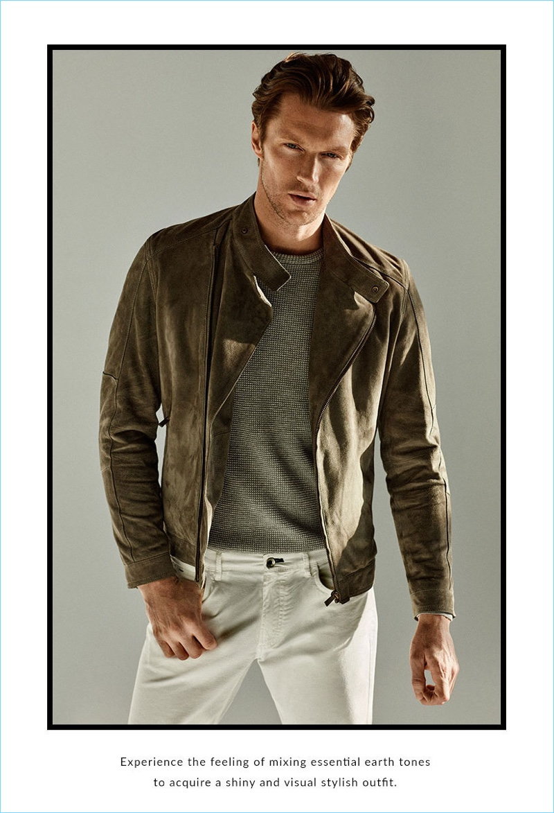 Massimo Dutti reunites with Shaun DeWet, spotlighting pieces such as a brown suede jacket.