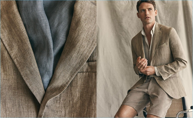 Embracing a neutral color palette, Guy Robinson wears a linen jacket, shirt, and shorts from Massimo Dutti.