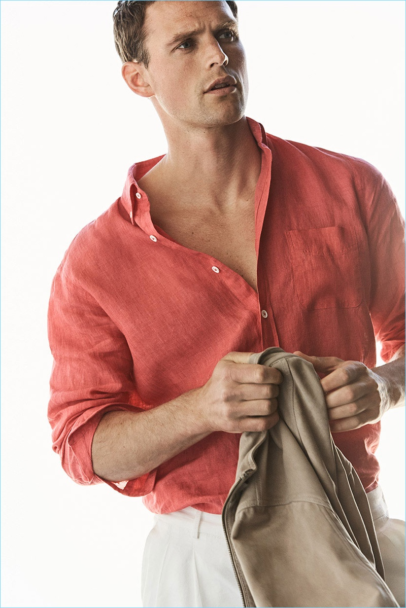 Making a case for color, Guy Robinson sports a coral linen shirt from Massimo Dutti.