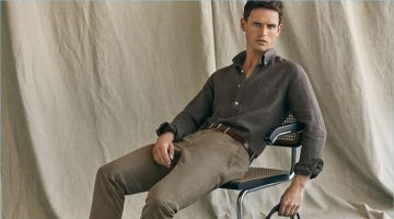 Taking to a fabric clad studio, Guy Robinson wears Massimo Dutti's latest linen fashions.