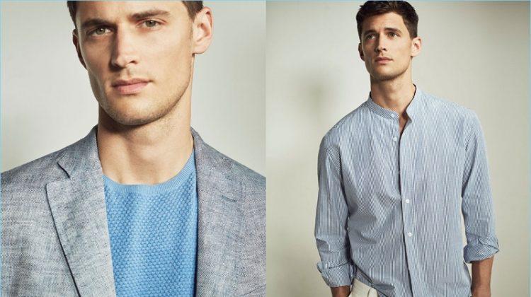 Azure Vibes: Garrett Neff Models Blue Styles for Massimo Dutti