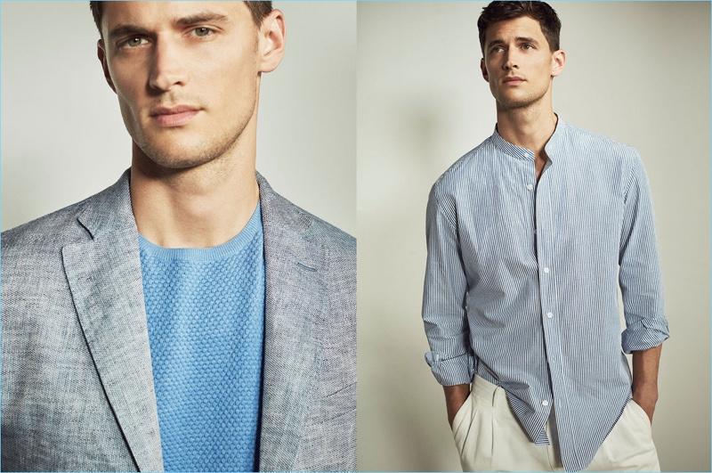Garrett Neff wears timely Massimo Dutti essentials such as the grandad collar shirt.