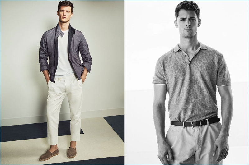 American model Garrett Neff dons smart pieces such as cropped chinos and the polo from Massimo Dutti.