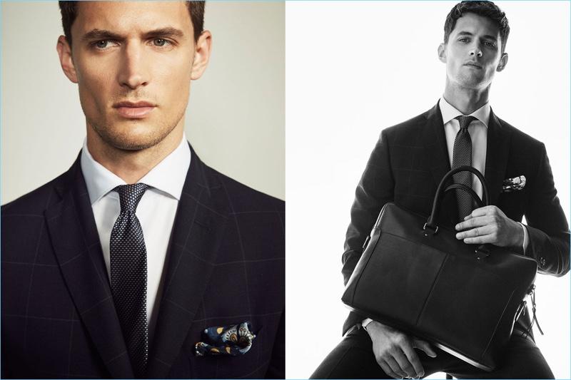 Suiting up, Garrett Neff wears sartorial fashions from Massimo Dutti.