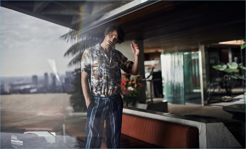 Connecting with Matches Fashion, Rob Moore wears an Etro linen shirt $350 with Blue Blue Japan trousers $322.