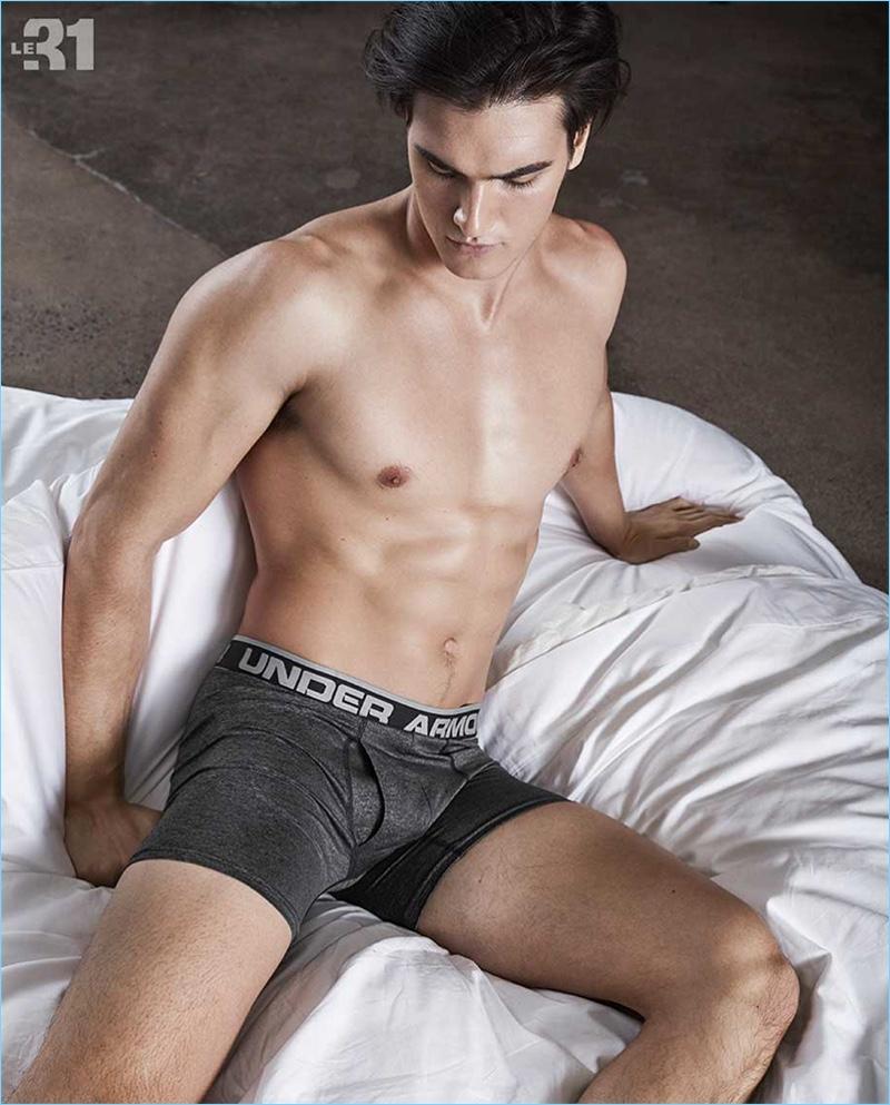 American model Matthew Terry sports Under Armour underwear.