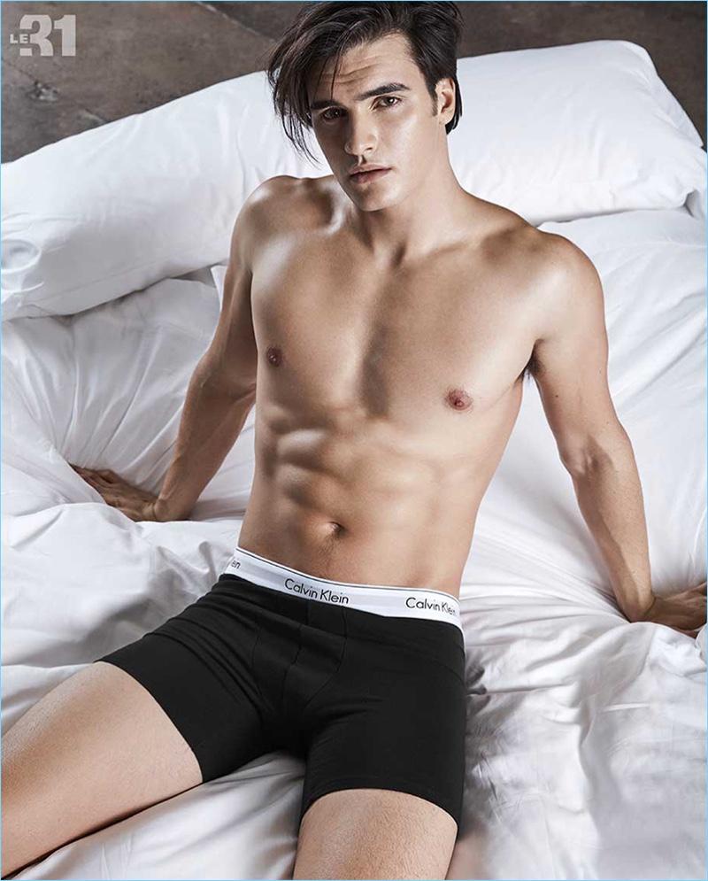 Matthew Terry rocks Calvin Klein underwear for Simons.