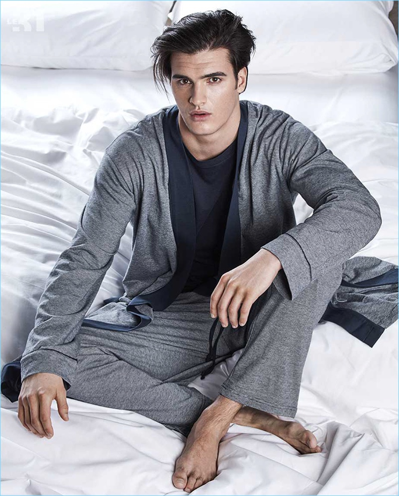 Spending a day in bed, Matthew Terry models loungewear from LE 31.