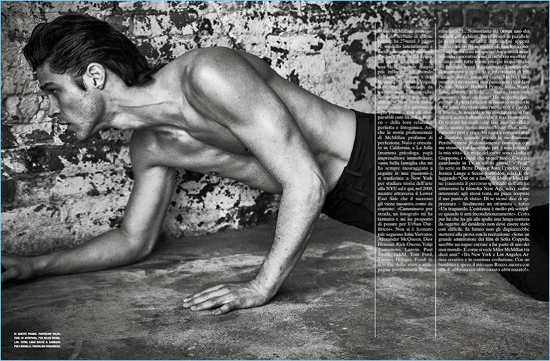 Going shirtless, Miles McMillan dons Valentino trousers.