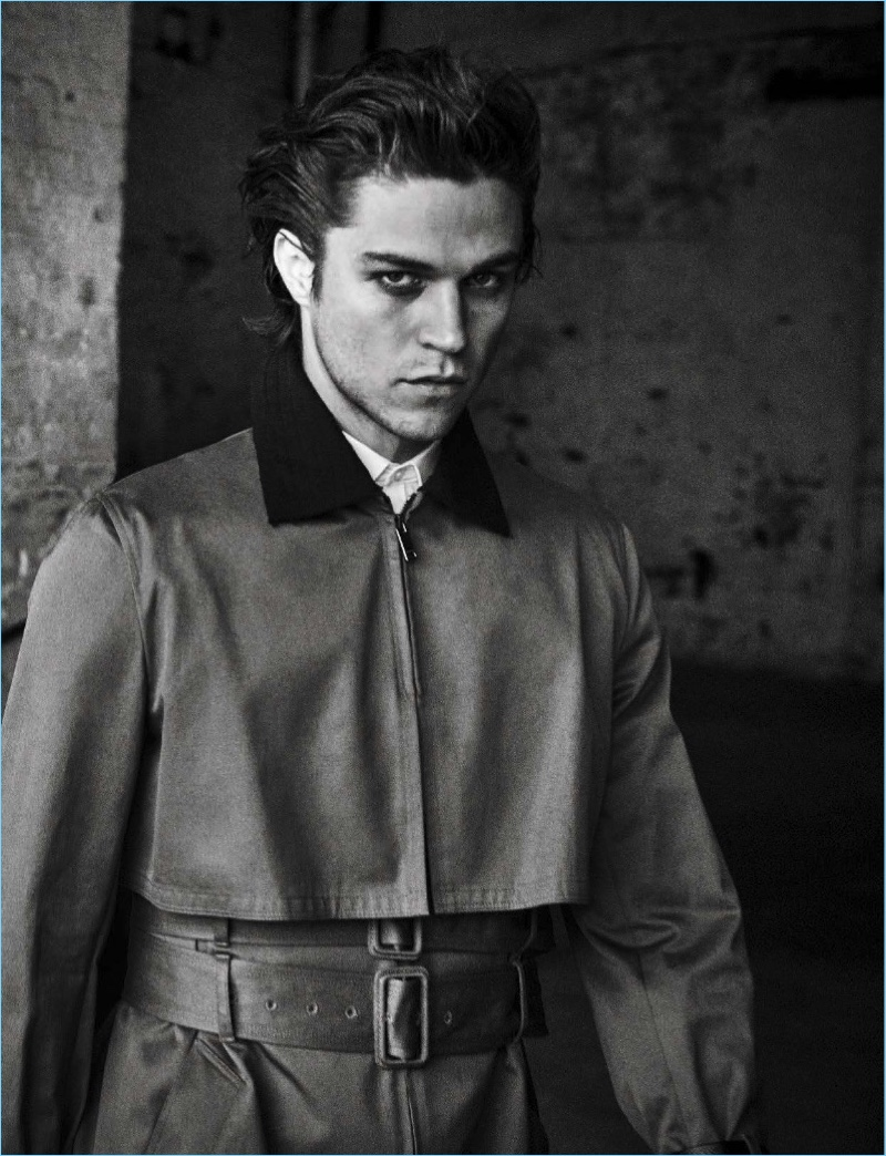 Model Miles McMillan sports a look from Valentino.