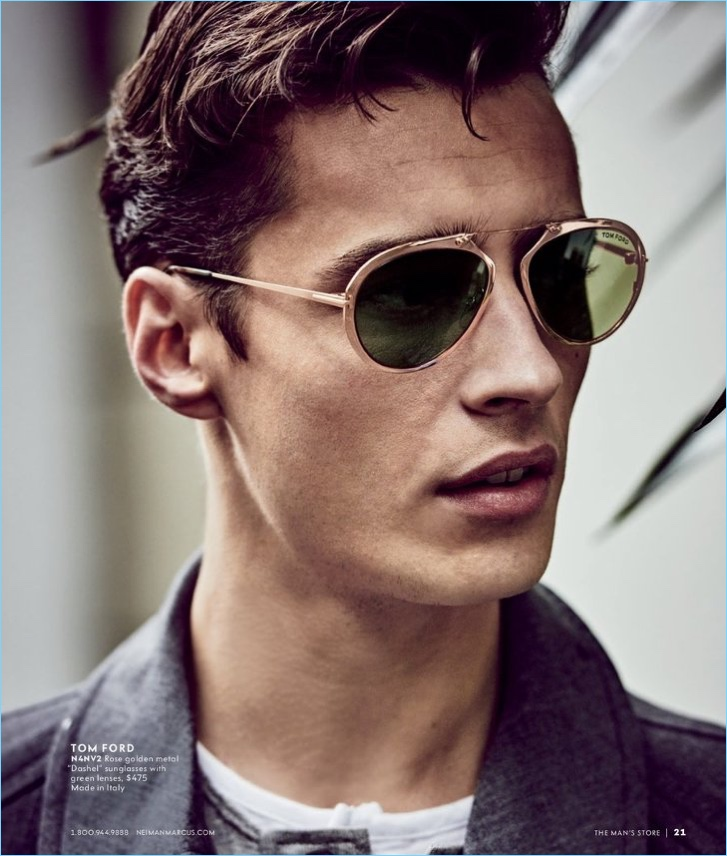 Front and center, Adrien Sahores wears Tom Ford sunglasses.