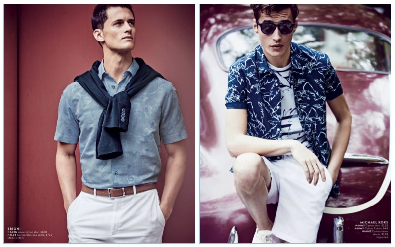 2c56af300aa Models Garrett Neff and Adrien Sahores appear in Neiman Marcus  latest  men s catalogue.