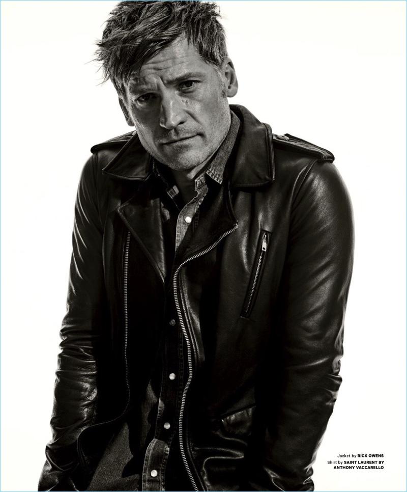 A striking vision in a leather Rick Owens jacket, Nikolaj Coster-Waldau also wears a Saint Laurent denim shirt.