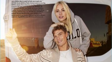 Oliver Cheshire joins his girlfriend Pixie Lott for Esquire's The Big Black Book. The British model wears a cardigan, sweatshirt, and shorts by Abercrombie & Fitch.