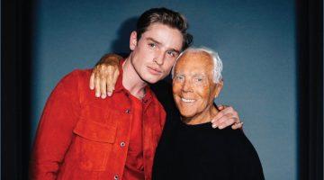 Sporting Emporio Armani, Patrick O'Donnell poses for pictures with designer Giorgio Armani.