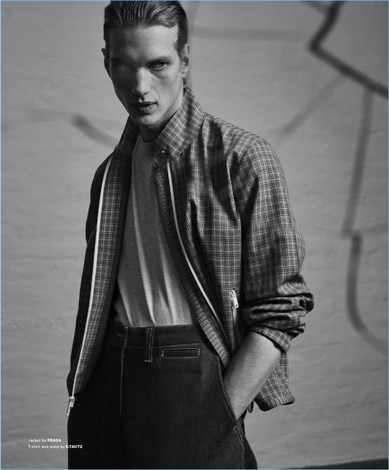 Paul Boche stars in a fashion editorial for Essential Homme.
