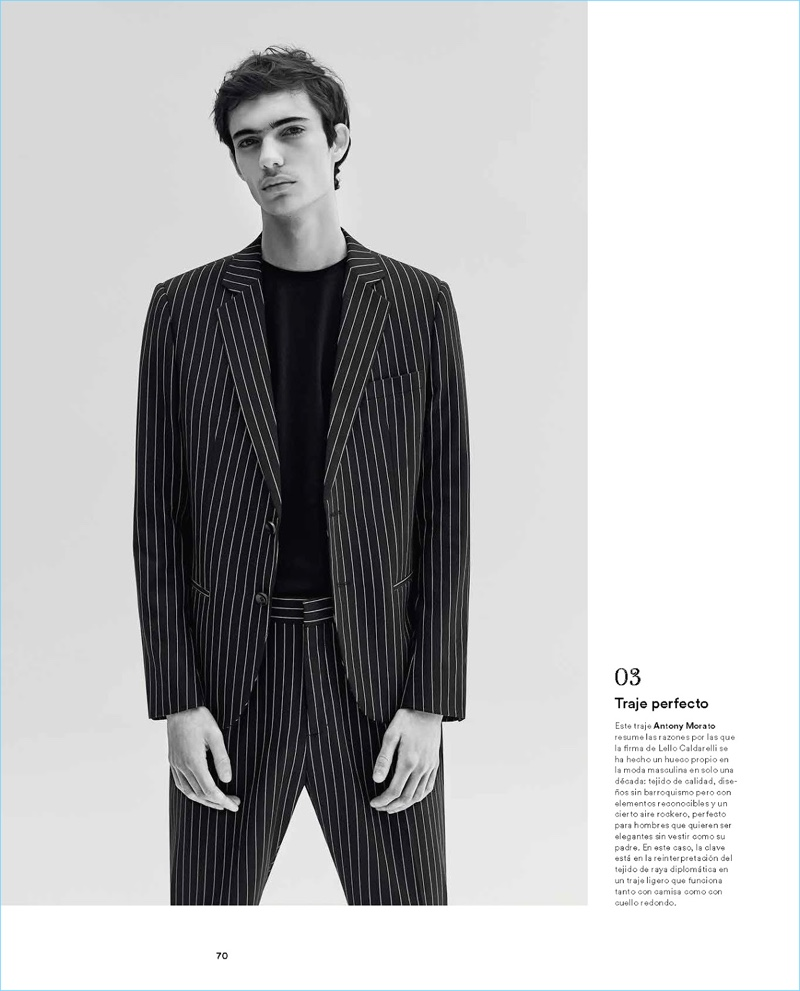 Making a pinstripe statement, Piero Mendez dons an Antony Morato suit.