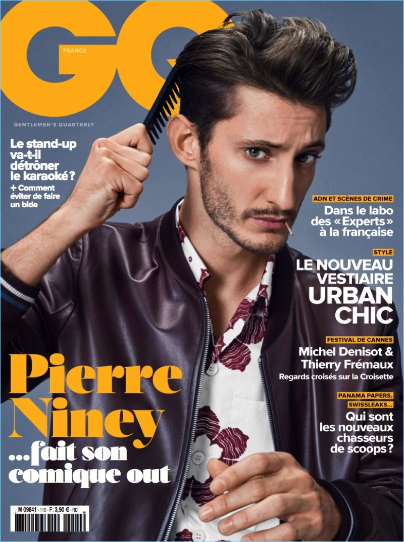 Pierre Niney covers the May 2017 issue of GQ France.