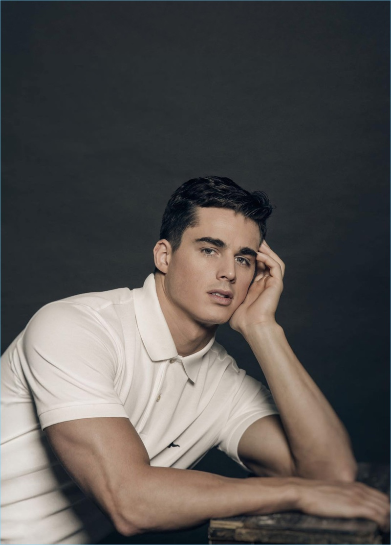 Pietro Boselli wears a Paul Smith polo shirt for the pages of Mega Man.