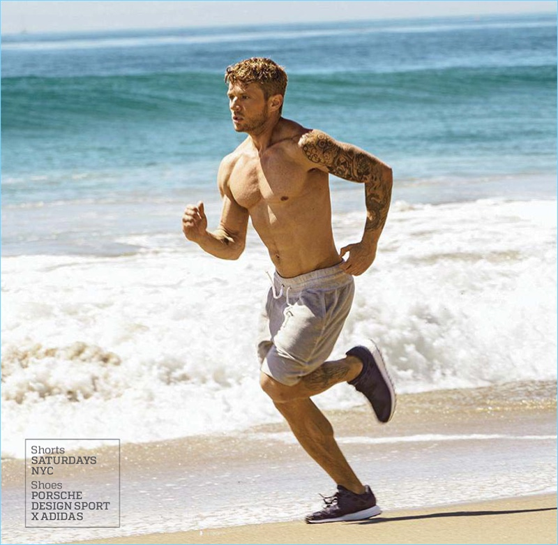 Going for a run on the beach, Ryan Phillippe wears Saturdays NYC shorts with Porsche Design Sport x Adidas shoes.
