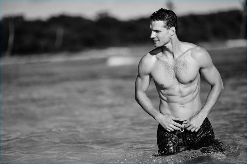 Taking a dip, Tomas Skoloudik fronts Solid & Striped's spring-summer 2017 campaign.