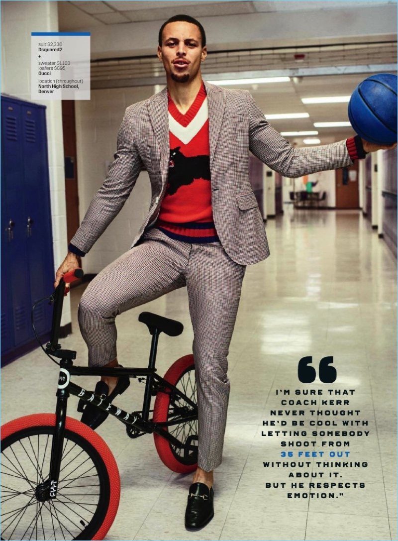 Sebastian Kim photographs Steph Curry in a Dsquared2 check suit with a Gucci sweater and loafers.