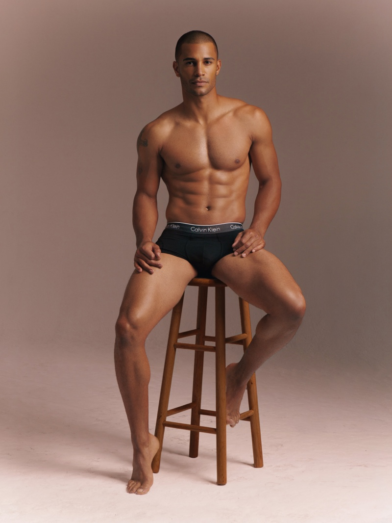 Front and center, Nathan Owens poses in Calvin Klein underwear.