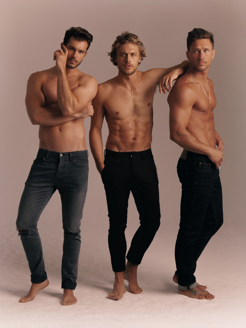 Models Alex Prange, Christopher Mason, and Tyler Wood take to the studio for a photo shoot.