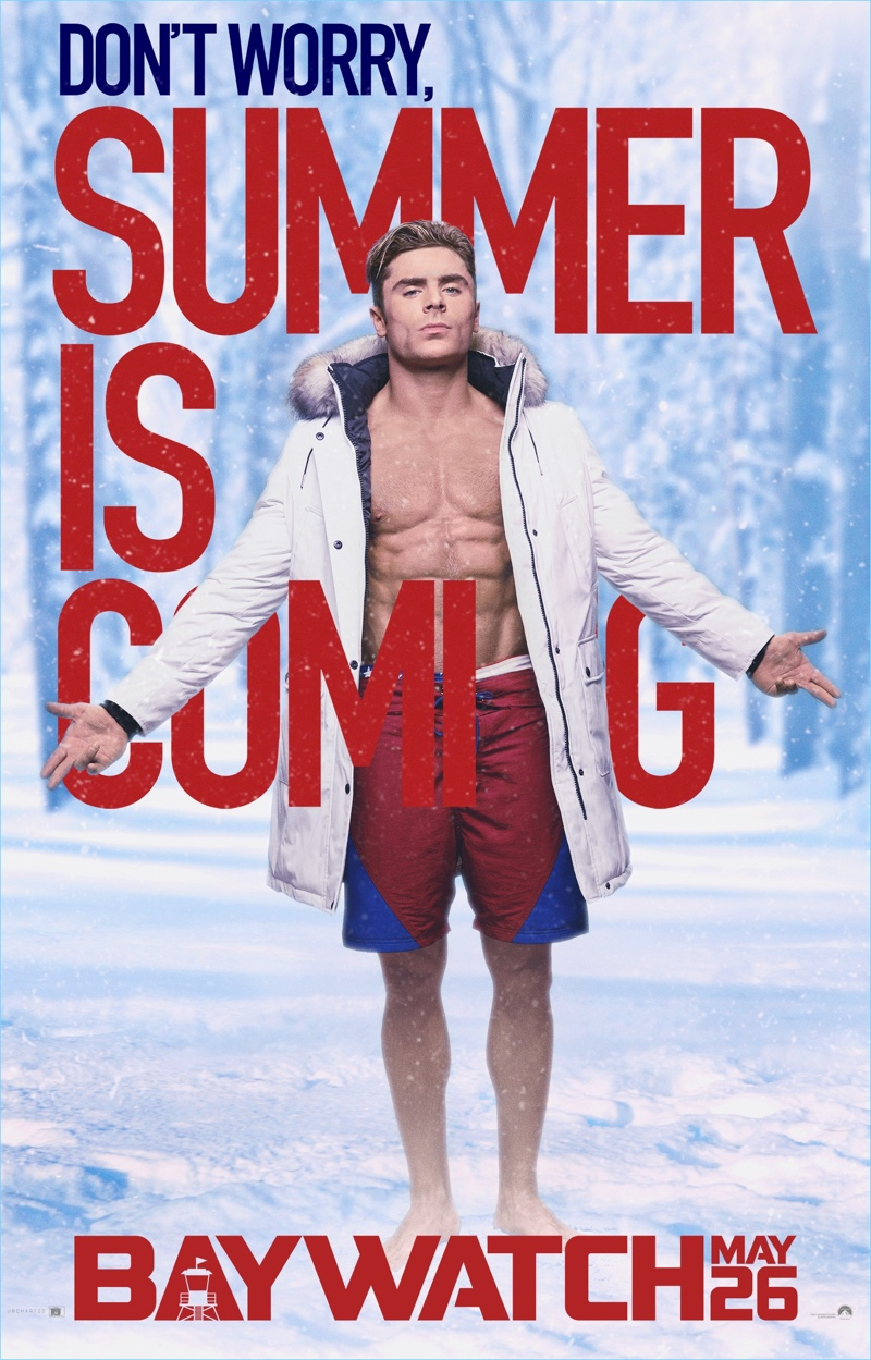 Actor Zac Efron appears in <em>Baywatch</em> poster arwork.