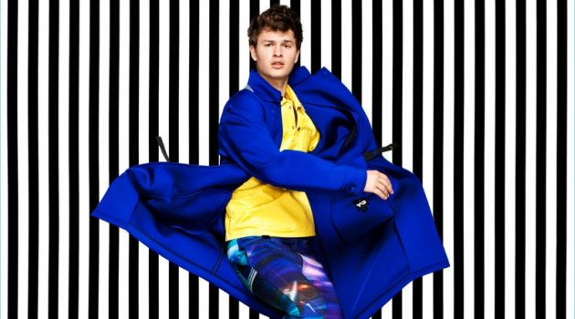 Making a colorful statement, Ansel Elgort rocks a blue Y-3 coat.